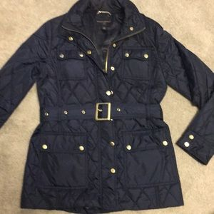 Banana Republic • navy, belted, quilted jacket